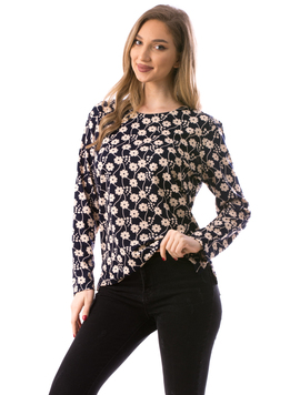 Bluza Dama ClassicFlower Bleumarin si Crem
