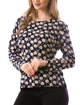 Bluza Dama ClassicFlower Bleumarin si Crem-2