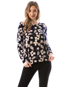 Bluza Dama ClassicFlower Bleumarin si Bej
