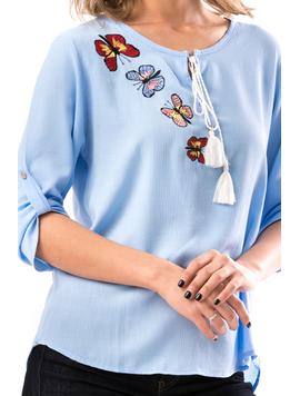Bluza Dama ButterflyFlower Bleu-2