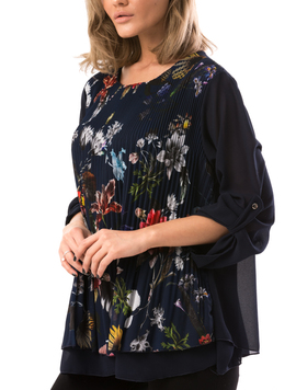 Bluza Dama VeilFlowerPrint Bleumarin-2