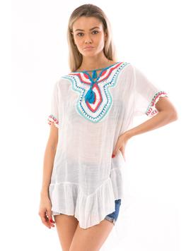Bluza Dama ZuzuLine Alb Albastru Rosu si Turcoaz