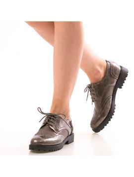 Pantofi Dama OxfordOne Gri Dep-2