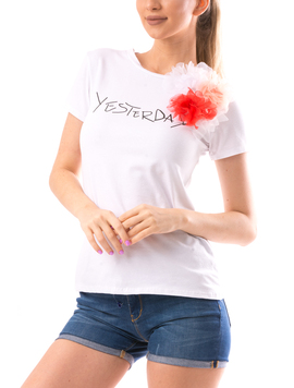 Tricou Dama ChestyFlower90 Alb-2