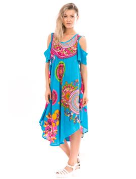 Rochie Dama IndianRound Albastru Cyclam Si Verde