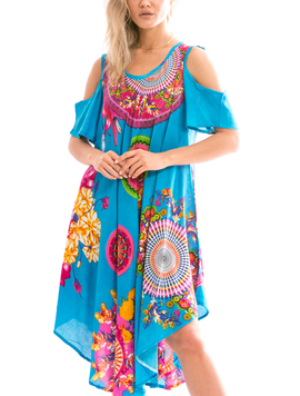 Rochie Dama IndianRound Albastru Cyclam Si Verde-2