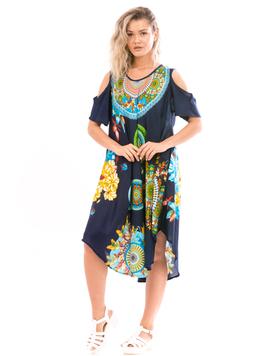 Rochie Dama IndianRound Galben Verde Albastru