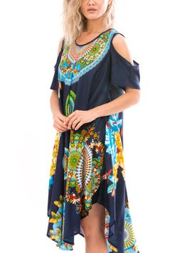 Rochie Dama IndianRound Galben Verde Albastru-2