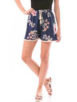 Pantaloni Scurti Dama SummerFlower Bleumarin Roz si verde