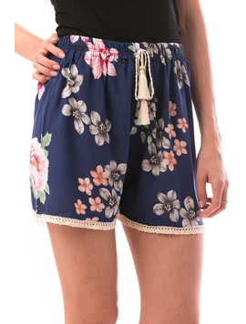 Pantaloni Scurti Dama SummerFlower Bleumarin Roz si verde-2