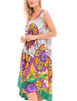 Rochie Dama IndianDay Alb Violet Orange Fucsia-2