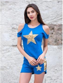 Compleu Dama Doua Piese StarGold Albastru-2