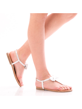 Sandale Dama Wind Alb Si Argintiu-2