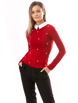 Bluza Dama DiamondCherry Rosu Si Alb