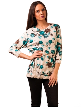 Bluza Casual You Could Be Happy Roses Turquoise