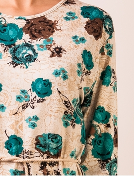 Bluza Casual You Could Be Happy Roses Turquoise-2