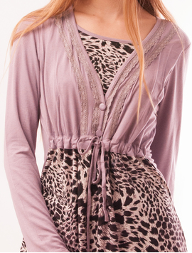 Bluza Dama Cu Model Animal Print Buttons Lila-2