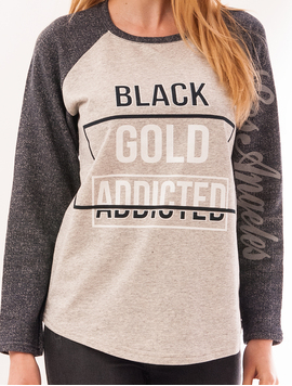 Bluza Dama Cu Imprimeu Gold Addicted Gri-2