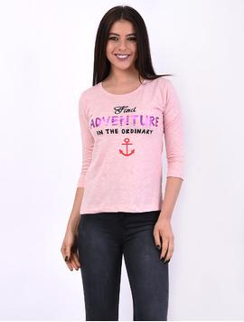 Bluza Dama Cu Imprimeu Find Adventure Roz