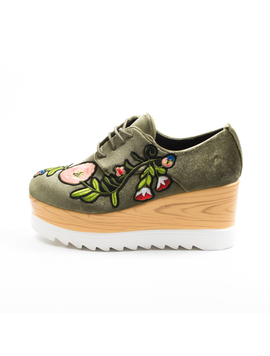 Pantofi Dama Cu Platforma Si Flori Anabella Verde