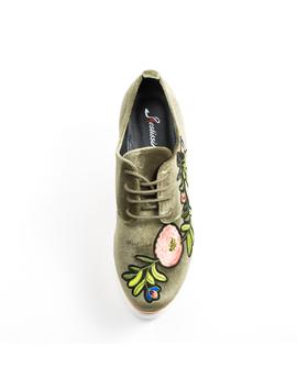 Pantofi Dama Cu Platforma Si Flori Anabella Verde-2