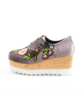 Pantofi Dama Cu Platforma Si Flori Anabella Gri