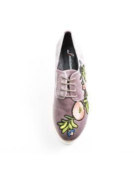 Pantofi Dama Cu Platforma Si Flori Anabella Gri-2