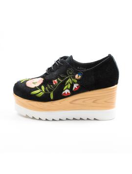 Pantofi Dama Cu Platforma Si Flori Anabella Negru