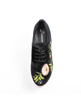 Pantofi Dama Cu Platforma Si Flori Anabella Negru -2