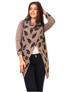 Cardigan Leaves Pattern Beige