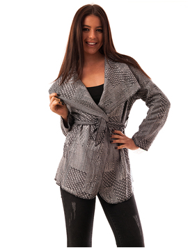 Cardigan Dama Din Stofa Cu Model Geometric Different Alb Si Negru