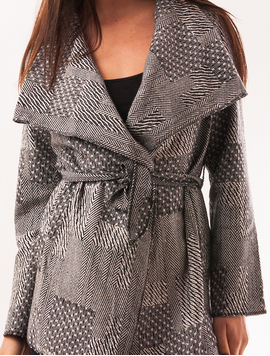 Cardigan Dama Din Stofa Cu Model Geometric Different Alb Si Negru-2