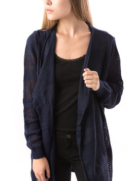 Cardigan Dama Cu Ajur SchoolCollection Bleumarin-2
