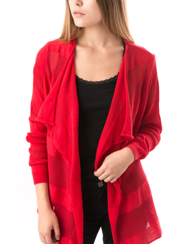 Cardigan Dama Cu Ajur SchoolCollection Rosu-2