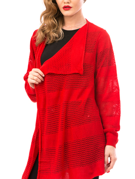 Cardigan Dama Cu Ajur LongSchoolCollection Rosu-2