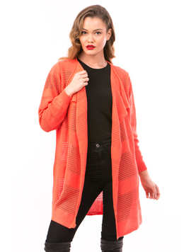 Cardigan Dama Cu Ajur LongSchoolCollection Corai