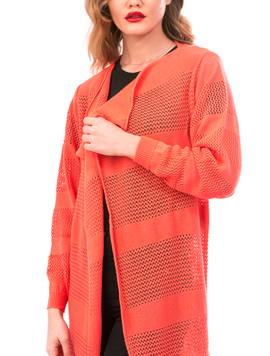 Cardigan Dama Cu Ajur LongSchoolCollection Corai-2