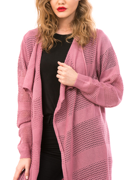 Cardigan Dama Cu Ajur LongSchoolCollection Roz-2