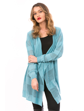 Cardigan Dama Cu Ajur LongSchoolCollection BabyBlue