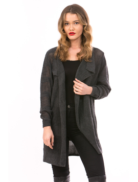 Cardigan Dama Cu Ajur NewSchoolCollection Gri Inchis