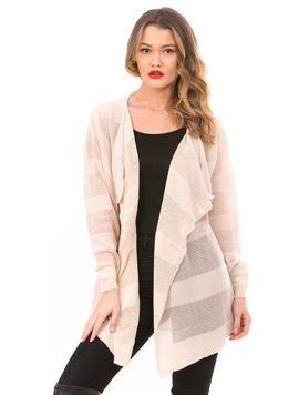 Cardigan Dama Cu Ajur NewSchoolCollection Bej