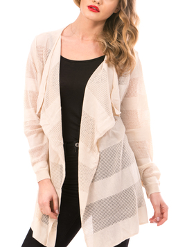 Cardigan Dama Cu Ajur NewSchoolCollection Bej-2