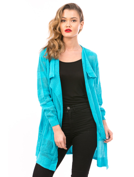 Cardigan Dama Cu Ajur LongSchoolCollection Bleo Electric