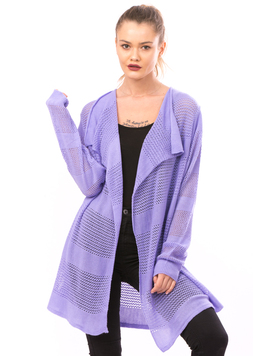 Cardigan Dama Cu Ajur LongSchoolCollection Liliac