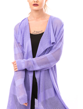 Cardigan Dama Cu Ajur LongSchoolCollection Liliac-2