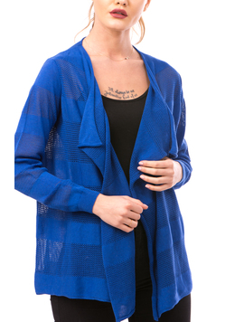 Cardigan Dama Cu Ajur NewSchoolCollection Albastru Electric-2