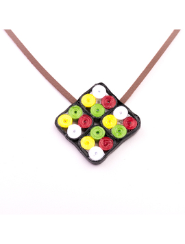 Colier Dama Hand Made In Forma De Romb  Snur din piele Stil Quilling Multicolor-2
