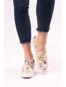 Espadrile Dama Cu Imprimeu Floral One Another Bej
