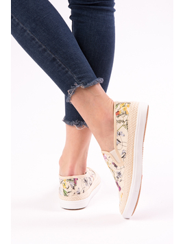 Espadrile Dama Cu Imprimeu Floral One Another Bej-2