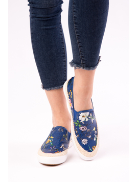 Espadrile Dama Cu Imprimeu Floral One Another Bleumarin